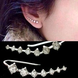 Wholesale Earrings Hooks Mixed - 2017 New Trendy Four-Prong jewelry 20pcs Wholesales Top Quality Setting 7pc Cubic Zircon Ear Hook Fashion Women Stud Earrings Can mix color