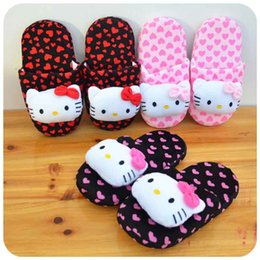 Wholesale Black Cat Slippers - 2016 Value-added Winter Indoor Slippers for Wemen Cute Cat Design Bowknot Warm Cotton Fabric Foam Sole Home Furnishing Size EU35-38