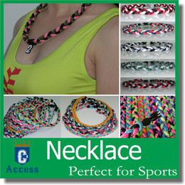 "Wholesale Neon Rope Necklace - New Baseball Sports Titanium 3 Rope Braided Sport GT Necklaces 10000 colors"" OEM Size many neon color"