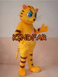 Wholesale Cat Mascot Suit - Wholesale-Brand New Yellow Cat Mascot Costume Adult Size Fancy Dress Cartoon Character Outfits Suit Free Ship