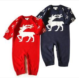 Wholesale Newborn Cartoon Animal - Autumn Toddler Knit Flower Rompers Newborn Kids Knitted Cartoon Jumpsuits Babies Christmas Clothing 2017 kids clothes