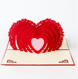 """Wholesale Pop Up Love Cards - Vintage pop up love cards stereo heart shape engagement party decoration cards 3.9""""x5.9"""" free shipping"""