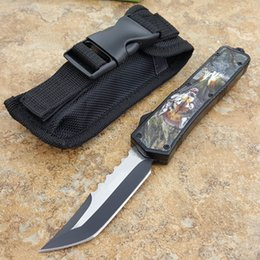 Wholesale Totem Gifts - combat scarab Wolf Totem hellhoud double action optional Hunting Pocket Knife Survival Knife Xmas gift for men 1pcs
