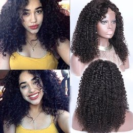 Wholesale African American Baby Hairstyles - 9A Mongolian Kinky Curly Human Hair Lace Wigs With Baby Hair Afro Kinky Curly Glueless Full Lace Human Hair Wigs For African Americans