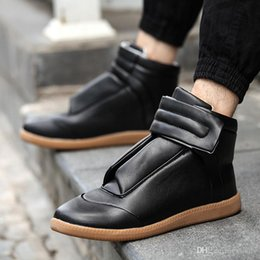 Wholesale Closed Looping - 2016 high Quality Maison Martin Margiela Casual Shoes Lace Up Flats Men Genuine Leather Leisure Flat Shoes fashion tenis shoes