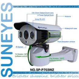 Wholesale Ip Outdoor Zoom - SunEyes SP-P703WZ Wireless 720P HD Pan Tilt Zoom IP Network Camera Outdoor Weatherproof PTZ CCTV with Micro SD Slot and P2P