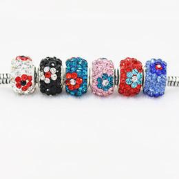 Silber-perlen online-Blume Polymer Clay Kristall Charm Bead 925 Silber Überzogene Mode Frauen Schmuck Europäischen Stil Für Pandora Armband Halskette