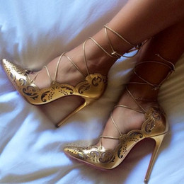 Wholesale Sexy Gold Stiletto Heels - New Impera Rihanna Red Bottom High Heels Sexy Pointed Toe Pigalle Shoes Cut Out Ankle Strap Women Pumps Lace Up Cut-Outs Women Sandals