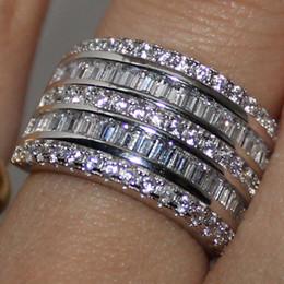 Canada Éternité 14 K Or Blanc Rempli Carré Diamant Simulé CZ Superposition Grand Anneau De Mariage Anneau Jenny G Bijoux pour Femmes Beau Cadeau Offre