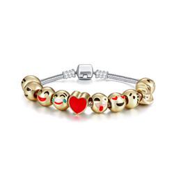 Wholesale Cartoon Beaded Bracelets - New High quality bracelets for women alloy gold beaded bracelets cute cartoon emoji bracelets free shipping