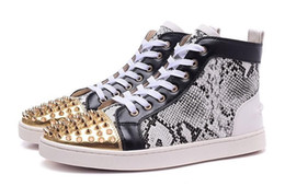 Wholesale Man Shoes Leather Snake - 2016 Men & Women Gray Snake Leather With Gold Spikes Toe High Top Red Bottom Casual Shoes, 36 - 46 size Unisex Brand Flats loubuten Shoes