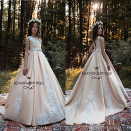 Wholesale Satin Christmas Flowers - 2018 New Blush Pink Flower Girl Dresses Princess A Line Kids Formal Wear Gowns Appliqued Sweep Train with Sash Long Girl Pageant Dress