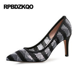 Wholesale Mesh Shoes Heels - Shoes 3 Inch Stiletto Pointed Toe High Heels Plus Size 2017 Spring Fashion Women Pumps 10 42 4 34 Special 33 Black Mesh
