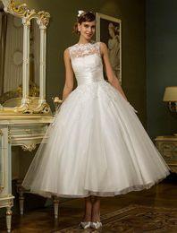 Canada Vintage cheville longueur tulle robes de mariée robes de mariée ras du cou applique applique bouton dos vestidos de novia Offre