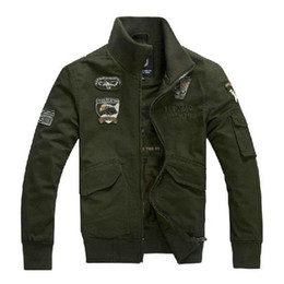 Wholesale Military Patch Design - Fall-Military Uniform US Air Force Men's Jacket Winter Thicken Jackets Men Army Green Full Cotton Stand Collar Frock Coat L~4XL M20F6