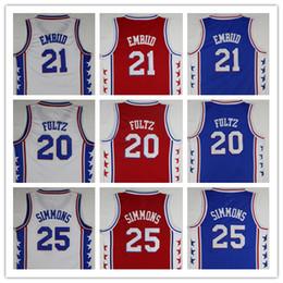 Wholesale Product Men - 2018 New Mens 21 Joel Embiid Jerseys Blue 20# Markelle Fultz Basketball Jersey 25 Ben Simmons Fast Shipping product White shirt