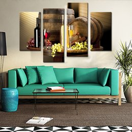 Wholesale Wine Canvas Art For Walls - 4 Piece Wall Art Painting Red Grapes Wine Barrel And Prints On Canvas The Picture Decor Oil For Home Modern Decoration Print