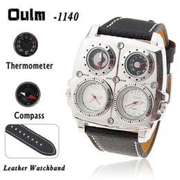 Wholesale Oulm Quartz - Oulm watch with quartz movement leather band christmas gifts watch with fuctional dial for the business man for the christmas gifts