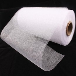 Wholesale Organza Fabric Wholesale Rolls - 1 Roll 20cm Wide*45M Snow White Organza Fabrics Sheer Crystal Transparent Fabric For Wedding Birthday Party Decorations