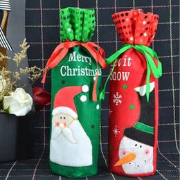 weihnachtskisten ornamente großhandel Rabatt Santa rot wein flasche tasche geschenktüte Vater Weihnachten Besteck Geschirr Halter flasche Tasche Abdeckung Decor Anzug Tischdekoration HQ021