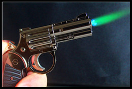 Wholesale Idea Wholesale - New style pistol lighters can inflatabl metal electric torch lighters 90G metal Windproof lighters Idea Gift flashlight lighters oem lighter