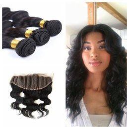 Wholesale Cheap Wholesale Bleach - Cheap Indian Lace Frontal Body Wave 13x4 Lace Front Closure natural color Pieces With Bleached Knots Human Lace Frontal G-EASY