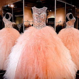 Wholesale Gold Peach Prom Dress - Ball Gown 2016 Floor Length Amazing Rhinestone Crystals Blush Peach Quinceanera Dresses Sleeveless Crew Neck Sweet 16 Ruffles Prom Gowns