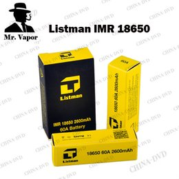 Wholesale Mech Mod Batteries - Authentic Listman IMR 18650 Rechargeable Battery 2600mAh 60A 3.7V Top Flat Buttom Batteries Fit eleaf istick Sigelei 510 Mech 26650 Mod