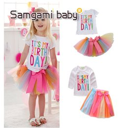 Wholesale Cute Skirts For Summer - New Summer Princess Outfits Sets Letter It's my birthday Tops Shirt + Rainbow Skirts Tutu Bowknot Skirt 2pcs Beautiful Set For Girl A7557