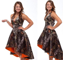Wholesale Realtree Wedding - Custom Made High Low Realtree Camoflage Camo Bridesmaid Dresses 2017 Hot Sale Bride Maid of Honor Dress Wedding Party Gowns BA2441