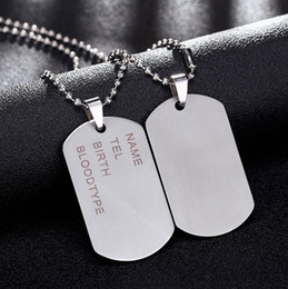 Wholesale Army Pendants - New Brand Link Chain Man necklace Military Army Dog Tags Men's Stainless Steel Pendant Necklaces Jewelry Gift Choker Wholesale
