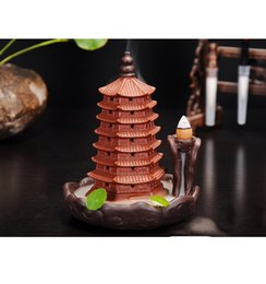 Canada Purple Seven Layer Pagoda Incense Burner Sandalwood Tea Room Creative Ornaments Smoke Backflow Cone Stick Coil Incense Base Offre