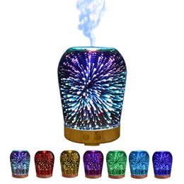 Wholesale Glass Aroma Diffuser - Magic Light Aroma Mist Maker Goated Glass Fireworks Pattern Essential Oil Diffuser For Office 3D Humidifiers Top Quality 125zk B R