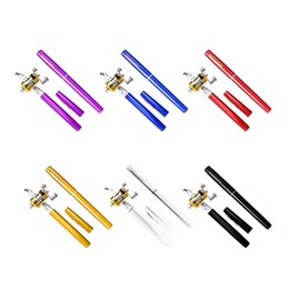 Wholesale Pocket Fish Pen - 1pc Mini Portable Aluminum Alloy Pocket Pen Shape Fish Fishing Rod Pole With Reel 6 Colors