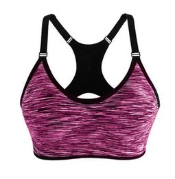 Wholesale Stretch Tank Tops Women - Wholesale-New Arrived Women Sexy Padded Sports Bra Gym Fitness Stretch Workout Tank Top Seamless Intimates Solid Cotton Bra Q2446