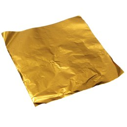 Wholesale Chocolate Wrappers - Wholesale- 100pcs Square Sweets Candy Chocolate Lolly Paper Aluminum Foil Wrappers Gold