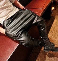 Wholesale harem leather - Wholesale-New 2015 Fashion faux leather harem pants men drop crotch pants men baggy pants casual fashion elastic waist pants