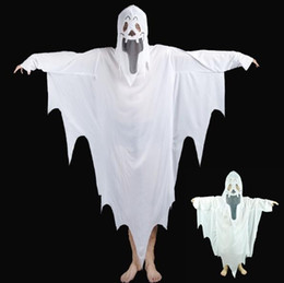 Wholesale White Demon Costume - New Halloween horror props costume gowns white ghost demon stage performance make-up clothing game funny clothes children adult models