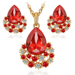 Wholesale Earings Sets - Ruby Jewelry set 18k gold plated women austrian crystal wedding party fashion diamond necklace earings Africa Sapphire Drops set Jewelrys
