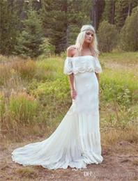Wholesale Silk Bohemian Black Dress - Vintage Bohemian Hippie Wedding Dresses 1970s Off Shoulder Sleeves A-line Lace Backless Modest Plus Size Boho Bridal Gowns Court Train Cheap