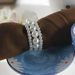 Wholesale Ivory Napkin Rings - White and Ivory Shiny Pearls Napkin Rings For Wedding Banquet Party Table Decoration Accessories Free Shipping