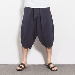 Wholesale Flax Pants L - Wholesale-Summer Men Flax Linen Pants Loose Harem Waisted Drawstring Cotton Men Linen Bottoms High Quality Luxury Brand Men Linen Trousers