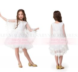 Wholesale Tea Party Dresses For Toddlers - 2016 Hot Toddler Flower Girl Dresses for Weddings Cheap Knee Length Girls Kids Champagne Lace First Communion Party Gowns With Wraps CPS307