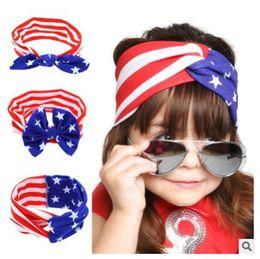 Wholesale Flags Hairs - Baby Flag Headband Rabbit Ears selling American headband day hair tie headband source of foreign trade