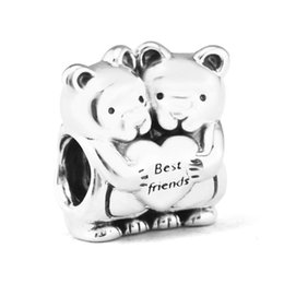 Pandora porta i fascini online-Autentici gioielli in argento sterling 925 Orsi Best Buddies Fashion Charms Perline Adatto bracciali Pandora per le donne