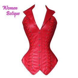 Wholesale Leather Body Xxl - Wholesale- Solid Black Red Leather Halter Shaperwear Corset Slim Overbust Bodysuit XXL Corset Body Shaper Plus size S M L XL XXL
