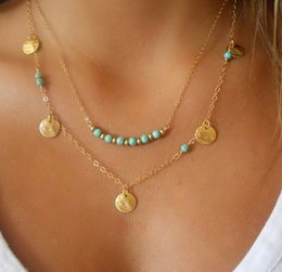 Wholesale Double Chain Necklace Gold - Fashion Bohemian hot style double layer choker chain necklace Tibet turquoise alloy necklace jewelry wholesale supply free shipping