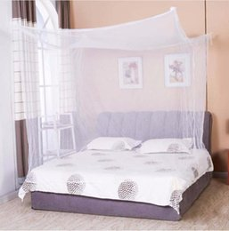 Wholesale Canopy Homes - Moustiquaire 1pc Canopy White Four Corner Post Student Canopy Bed Mosquito Net netting Queen King Twin size