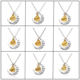 """Wholesale Back Moon - Hot Antique Silver Gold """"I Love You To The Moon and Back"""" Pendant Necklace Gift for Lover Mom Dad Daughter Sun Gift"""