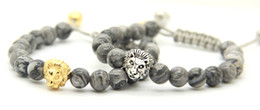 picture chains Promo Codes - 2016 New Design Mens Bracelets Wholesale 8mm Grey Picture Jasper Stone Beads Gold and Silver Macrame Lion Head Bracelets